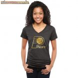 Camisetas Mujer NBA Indiana Pacers Negro Oro
