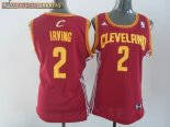Camisetas Mujer Cleveland Cavaliers NO.2 Kyrie Irving Rojo Amarillo