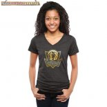 Camisetas Mujer NBA Dallas Mavericks Negro Oro