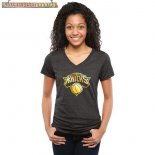 Camisetas Mujer NBA New York Knicks Negro Oro