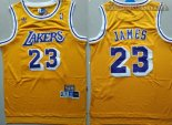 Camisetas Los Angeles Lakers NO.23 Lebron James Retro Amarillo