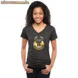 Camisetas Mujer NBA Milwaukee Bucks Negro Oro