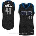 Camisetas Dallas Mavericks Luz Leopardo Nowitzki Negro