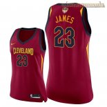 Camisetas Mujer Cleveland Cavaliers 2018 Finales Champions LeBron James Rojo Icon Parche