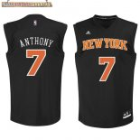 Camisetas New York Knicks NO.7 Carmelo Anthony Negro Naranja