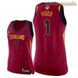 Camisetas Mujer Cleveland Cavaliers 2018 Finales Champions Rodney Hood Rojo Icon Parche