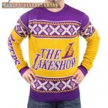 NBA Unisex Ugly Sweater Los Angeles Lakers Amarillo Púrpura