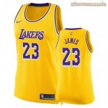 Camisetas Mujer Los Angeles Lakers LeBron James Amarillo Icon 2018-2019