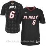 Camisetas Miami Heat Noches Latinas Manga James Negro